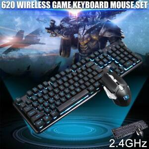 LED light computer PC gaming keyboard and mouse combo set wireless bundle white