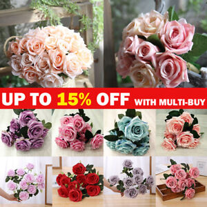10 Heads Artificial Flowers French Silk Rose Bouquet Wedding Garden Home Decor