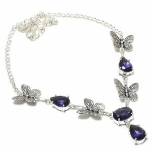 "Amethyst Gemstone Handmade 925 Sterling Silver Jewelry Necklace 18"""