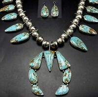 NAVAJO Sterling Silver & Webbed Turquoise SQUASH BLOSSOM Necklace & EARRINGS Set