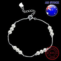 Wholesale 925 Sterling Silver Shell Pearl With Clear CZ Bracelet Gift