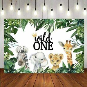 Wild One Backdrop Safari Animal Baby Shower 1st Birthday Party Photo Background