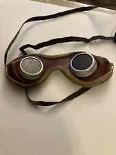 Vintage Welding Goggles Green Glass/ Leather Steampunk Unbranded