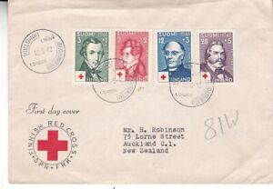 1948 Finland FDC #B87-90 to New Zealand; red cross topical *d