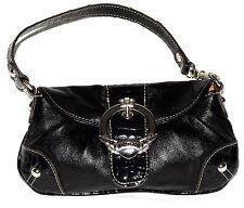 Kathy Van Zeeland Black & Croc Embossed Trim Faux Leather Mini Wristlet Handbag