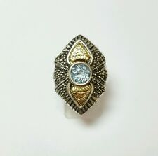 VINTAGE STERLING SILVER AND 18K GOLD BLUE TOPAZ AND MARCASITE RING SIZE 6