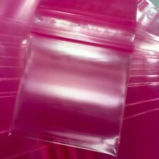 """3MIL 2020 100 PINK COLOR ZIP LOCK BAGS 2"""" X 2"""" *3MIL IS 44% THICKER THAN 2MIL"""
