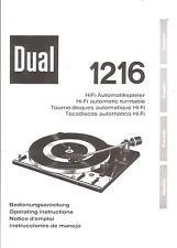 Dual Bedienungsanleitung für 1216