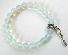 **BEAUTIFUL OPALITE BEAD BRACELET WITH TIBETAN SILVER GODDESS**