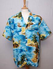 "Evergreen Island fishermen palm trees blue rockabilly hawaiian shirt L 42"" 107cm"