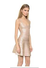HERVE LEGER EVA WOODGRAIN FOIL-PRINT rose gold DRESS sz L