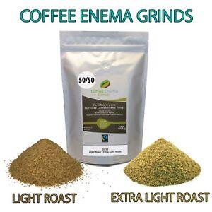 COFFEE ENEMA GRINDS LIGHT & EXTRA LIGHT ROAST 50/50 GERSON AIR ROASTED 400g AUS