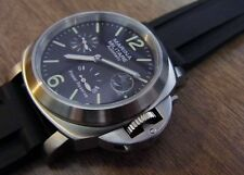 Parnis 44mm MM Brushed no text Power Reserve rubber automatic mechanical Watch