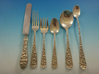 Rose by Stieff Sterling Silver Flatware Set For 8  Service 53 Pieces Repousse