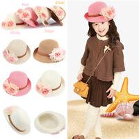 Cute Flowers Kids Girls Straw Sun Hats Wide Brim Summer Beach Travel Cap Girly