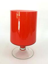 vintage Mid-Century Modern orange & white case glass vase, clear stem c.1960s
