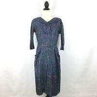 LORD & TAYLOR womens sz S vintage 1940s dress - gray silk sheath bow belt pocket