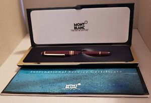 Rare Burgundy Bordeaux Montblanc Fountain Pen with 14k Gold Nib with Box