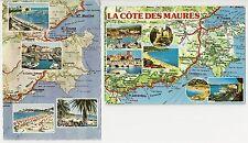 Two Map Postcards, French Riviera, La Cote Des Maures, St Tropez, St Maxime