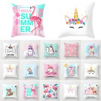 18'' Unicorn Flamingo Cat Cushion Cover Pillow Case Home Sofa Decor UK Trendy