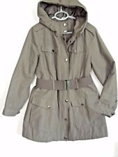 M&Co PADDED HOODED PARKA COAT, 14 UK, Khaki Zipped Patch Pockets