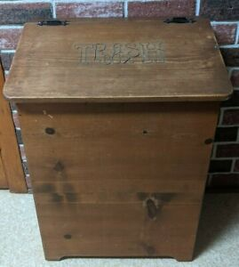 Vintage Handmade Wooden Trash Box Storage Container Trash Bin Primitive Decor
