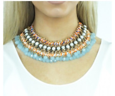Vintage Bohemia Beads Statement Bib Chain Necklace Choker Pendant Collar Chunky