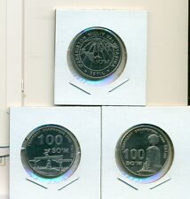 From Show Inv. - 3 UNC.100 SOM COINS...UZBEKISTAN..3 TYPES...2004, 2009 & 2009