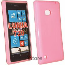 Cover Custodia Per Nokia Lumia 720 Silicone Gel TPU Rosa + Pellicola Display