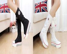New Rock Women Girl Shoes Canvas Platform Boots Lace Up Zip Knee High Sneaker