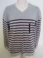 BANANA REPUBLIC Mens Gray Purple Striped V-Neck Cotton Sweater Size L,XL,XXL NWT