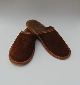 Mens Brown Suede Leather Warmed Slippers *HAND-MADE EU PRODUCTS*size 9,10