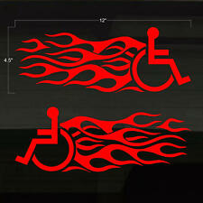 """Handicapped Handicap Wheelchair Speed Flames TWO 12"""" Decal Stickers Disabled"""