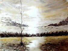 watercolour painting , landscape, atmospheric sky and moorland,