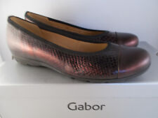Gabor Maroon Leather Boa Brush Metallic Flats 54.161.65 Women Shoe Sz 8 US NIB