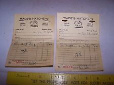 Two 1955 WADE'S HATCHERY Invoices - Chicken Chick - GREENUP ILLINOIS Seed Feed