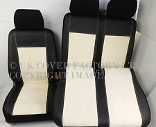 VW TRANSPORTER T5 VAN SEAT COVERS CREAM ALCANTARA WHITE STITCH TAILORED P70CM