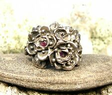 and Herkimer Diamond Crystal-Size 8,5 Floral Light Bronze Ring -Ruby