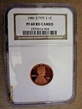 1981 S Type 2 PROOF LINCOLN MEMORIAL CENT NGC PR69 RD CAMEO