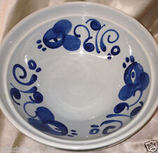 "LAPID ISRAEL BLUE FLORAL PATTERN 8 1/2"" ROUND SERVING BOWL OFF WHITE ARABESQUE"