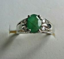 NATURAL AAA GREEN EMERALD OVAL & WHITE CZ STERLING 925 SILVER RING SIZE 6.75