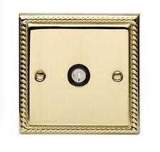 Georgian Brass Single TV Coaxial Wall Socket TV/FM