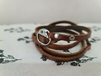 Good Works Make a Difference Wrap Bracelet Brown Leather Christian Faded