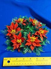 "Mid Century Vtg Xmas Small Wreath Plastic Felt Flower Petals Poinsettia 8"" Decor"