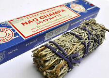 Space Cleansing set, White sage smudge stick, Nag Champa incense wicca witch