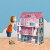Pink Large Wooden Dollhouse Barbie Doll House w/Furniture Pretend Play Home Kid