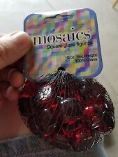 RETIRED MEGA MARBLES  SQUARE SCARLET   RED MOSAIC GLASS  GEMS  10 OZ NET BAG