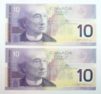 2 Consecutively Numbered 2001 Bank of Canada $10.00 Banknotes - AU - BC63a