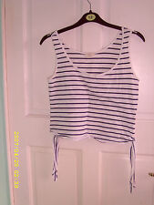 Striped Cotton Blend Crew Neck Fitted Women's Tops & Shirts