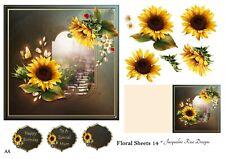 Floral Sheets 14 Decoupage 1 x A4 Sheet Not Die-Cut
